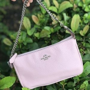 Coach LG Wristlet In Pebble Leather Petal F53340